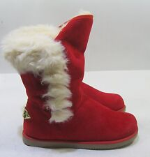 NEW LADIES Red Winter  Flat Ankle Boot Fur Inside Size 6.5