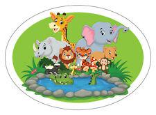 Jungle Friends Animal Fun Oval Vinyl Window Sticker Girls and Boys Kids Bedroom