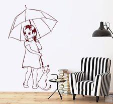 Wall Vinyl Decal Nursery Kids Children Umbrella Cat Girl Romantic Decor z3697