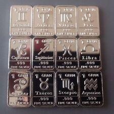 12 X 1 Gram .999 Fine Silver Bar Bullion / Zodiac Horoscope Astrology WP402 oz