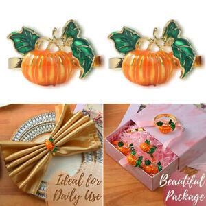 2Pcs Halloween Pumpkin Napkin Rings Metal Napkin Holder Party Table Decoration