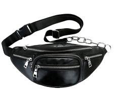 Fashion Unisex PU Leather Black Color Fanny Pack Silver Chain Belt Waist Bag
