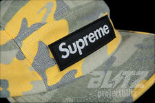SUPREME WASHED OUT CAMO CAMP CAP YELLOW CAMO SS19 HAT BLUE WOODLAND BOX LOGO