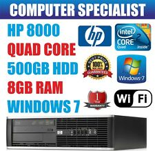 RÁPIDO HP Quad Core Pc Ordenador Escritorio torre Windows 7 Wi-Fi 8gb RAM