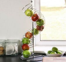 Fruit Bowl Basket Holder Wire Spiral Stand Rack Apple Orange KitchenCurve Chute