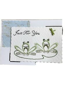 Handmade stitched BirthdayValentines Card  Frogs Green Butterfly Keepsake Cards