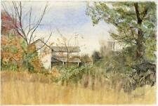 1960s Watercolor Painting, Overgrown Farmhouse by Emolene Bereza, New York State