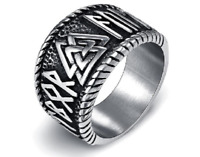 Mens Ring Titanium Stainless Steel Nordic Viking Runes Punk Amulet Jewelry Rings