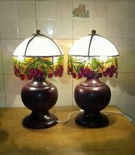 Coppia Lampade tavolo vintage legno tiffany/ Old table lamp