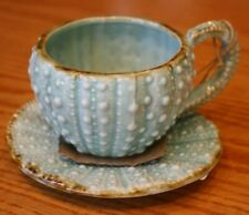 Blue Sky Clayworks Sea Foam Green Sea Urchin Teacup & Saucer Set Goldminc Beach