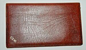 Vintage C.E.W Wallet Dark Brown 100% Natural Leather Bi-fold Men's Women's Photo