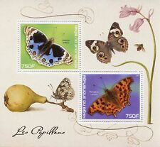 Benin 2017 MNH Butterflies 2v M/S Comma Butterfly Insects Stamps