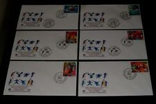 U.N. 1996, SPORT AND ENVIRONMENT, SINGLES ON FDCs, ALL 3 OFFICES, NICE!! LQQK!!