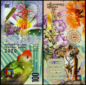 100 DOLLARS AVRORA ISLAND tiger - POLYMER COLLECTION BANKNOTE UNC UNCIRCULATED