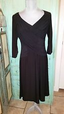 B-SLIM, NWT, MACY'S, Black Stretchy 3/4'' Sleeves, Fit and Flared Dress, Med.