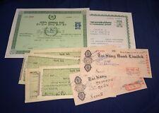 vintage Tai Sang Lawn Thong Thai Farmers Bank Cheques Share Certificates