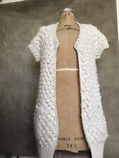 100% ALPACA Ivory Women Open Cardigan Sweater Short Sleeve POPCORN $400 AUGDEN S