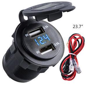 12V-24V Dual USB 2 Port Car Boat Charger Socket Voltage Digital Panel Volt Meter