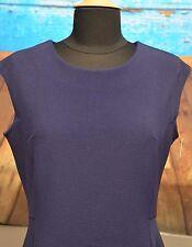 NWT Halogen Sz M Navy Peacoat Dress Textured Sleeveless Fit & Flare Stretch Blue