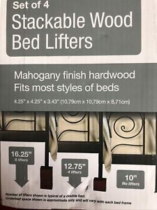 Richards - Set of 4 Stackable Wood Bed Lifters Color Mahogany Finished Hardwoood