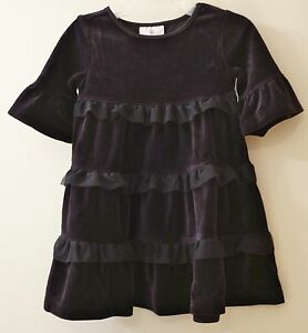 New Hanna Andersson Black Velour/Tulle Twirly  Dress Sz 80/10-24M ~ Pretty