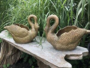 Rare Pair of Vintage Antique Swan Cast Iron Planters Urns