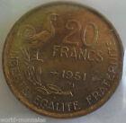 20 francs G Guiraud 1951 B : TTB : pièce de monnaie française
