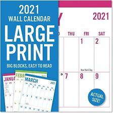 2021 LARGE PRINT GRID Wall Calendar BIG BLOCKS Easy to Read 12x12 Hung 24x12