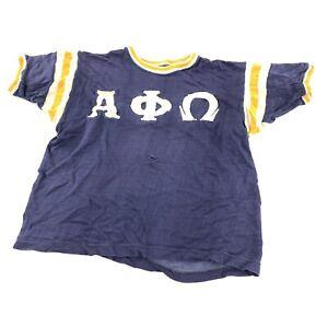 Vintage 50s 1950s Russel Single Stitch Fraternity T Shirt Ringer Alpha Phi Omega