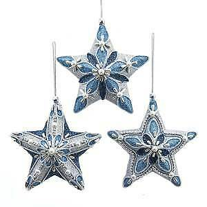 Set of 3 Blue With Silver Star Ornaments w