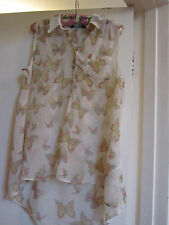Beige & Multicoloured See Through D Perkins Sleeveless Blouse / Top in Size 14