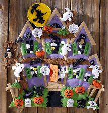 Bucilla Haunted House ~ Felt Halloween Wall Hanging Kit #86560 Witch Ghosts Bats