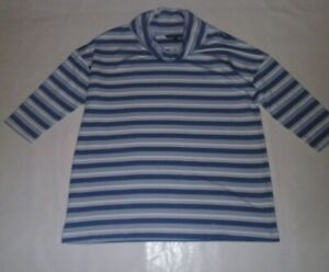Love Leisure Blue and White Striped Cowl Neck Top Size 14
