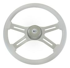 "18"" White 4 Spoke Classic Steering Wheel 3-Hole for Freightliner, Peterbilt, KW+"