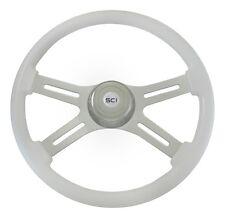 """18"""" White 4 Spoke Classic Steering Wheel 3-Hole for Freightliner, Peterbilt, KW+"""