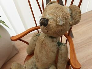 Antique Poorly Chad Valley Teddy With His Own Windsor Chair
