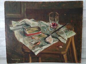 Huile sur panneau : nature morte signé Lereclus peintre Limousin début XXème