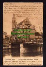 119514 AK Oppeln Schlesien 1904 Schlossbrücke und evangelische Kirche