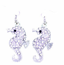 Superb clear crystal seahorse dangle earrings