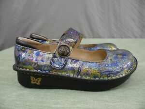 """ALEGRIA PALOMA GYPSY ROSE size: 38 (8-8.5) Floral Mary Jane Loafer 1.5"""" Heels"""
