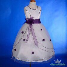 White Purple Scoop Formal Flower Girl Dress Wedding Communion Party Sz 10 #220A