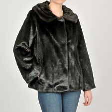 Jones of New York Womens Coat Faux Fur Swing Short Lined Designer Black M