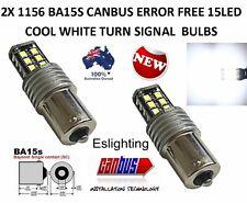 2X BA15S 1156 P21W 2835 15 LED TURN SIGNAL INDICATOR CANBUS BULB GLOBE WHITE