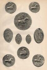12C SEALS. Dyneshall Pidele Ranulf Lieca Plugenet Segio Gloecestria Derleia 1907