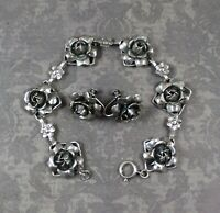 Vintage 1940s Sterling Silver Rose Flower Linked Bracelet and Matching Earrings