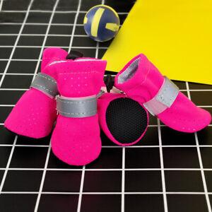 4pcs/Set Reflective Breathable Dog Shoes Anti-slip Pet Puppy Booties Soft Socks