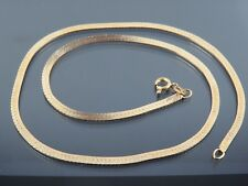 VINTAGE 18ct GOLD HERRINGBONE LINK NECKLACE CHAIN 16 inch C.1990