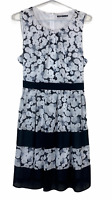 Tokito Womens White/Black Floral Sleeveless Lined Dress with Tie Belt Size 12