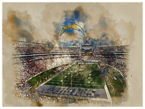 """San Diego Chargers Poster Watercolor Art Print Man Cave Decor 12x16"""""""