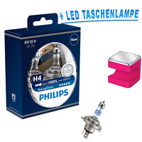 Philips H4 12342RVS2 Racing Vision +150% 2 Stück + OSRAM LED Taschenlampe Pink